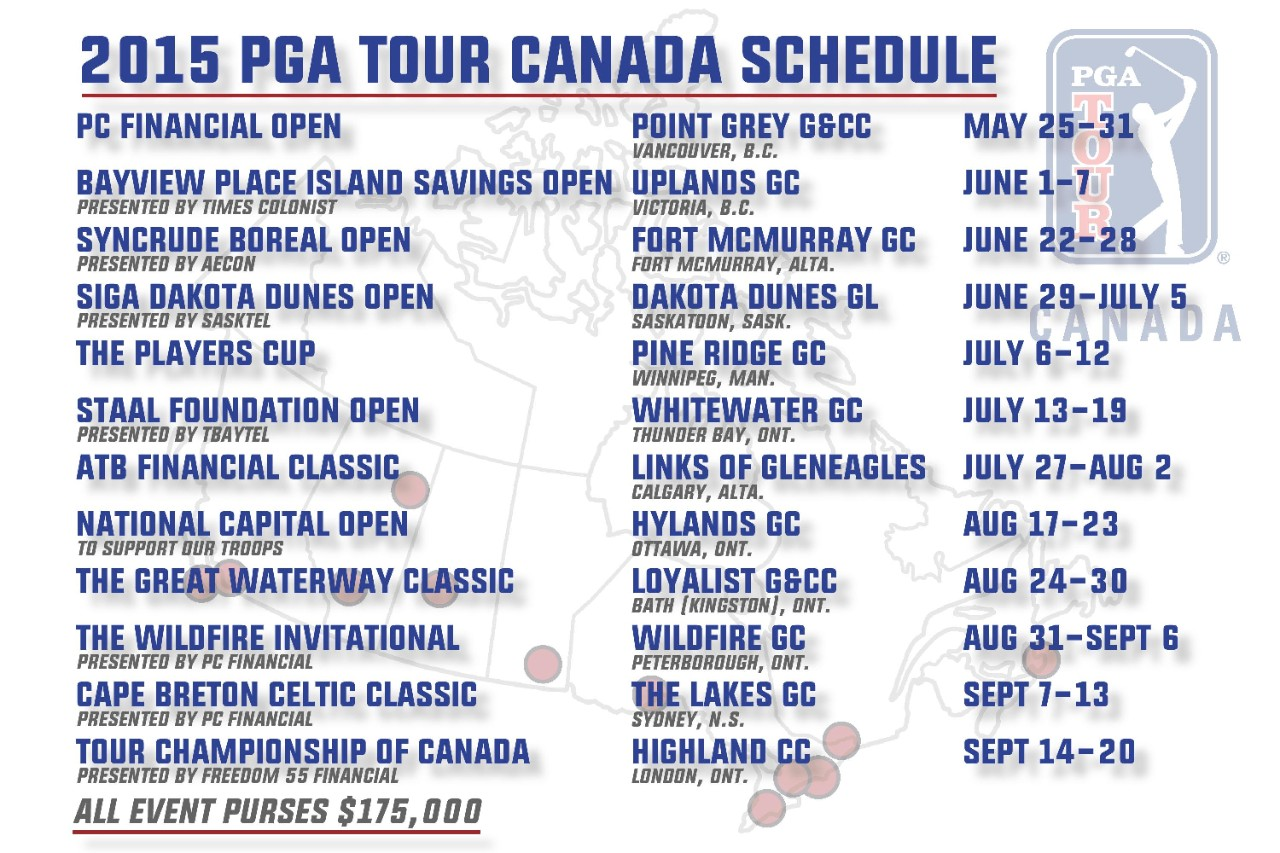 pga tour canada announces 2015 schedule