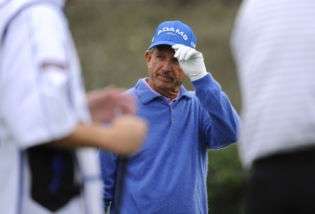 BOCA RATON, FL - FEBRUARY 11: Dana Quigley is introduced on the first hole during the second round of the Allianz Championship at The Old Course at Broken Sound on February 11, 2012 in Boca Raton, Florida.