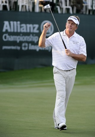 BOCA RATON, FL - FEBRUARY 11: Fred Funk reacts to his putt on the 18th green during the second round of the Allianz Championship at The Old Course at Broken Sound on February 11, 2012 in Boca Raton, Florida.