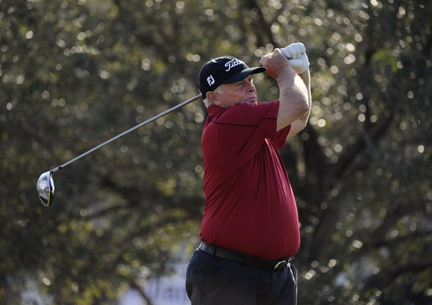 BOCA RATON, FL - FEBRUARY 11: Peter Senior hits a drive on the 12th hole during the second round of the Allianz Championship at The Old Course at Broken Sound on February 11, 2012 in Boca Raton, Florida.