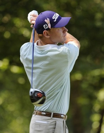 GREER, SC - MAY 19: Daniel Bowden hits a drive on the fifth hole during the third round of the BMW Charity Pro-Am presented by SYNNEX Corporation at the Thornblade Club on May 19, 2012 in Greer, South Carolina.