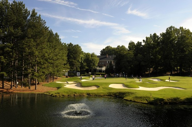 GREER, SC - MAY 19: A course scenic shot of the fourth hole during the third round of the BMW Charity Pro-Am presented by SYNNEX Corporation at the Thornblade Club on May 19, 2012 in Greer, South Carolina.