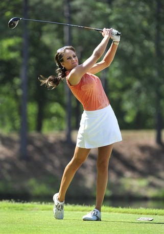 GREER, SC - MAY 19: Holley Sonders from the Golf Channel hits a drive on the fifth hole during the third round of the BMW Charity Pro-Am presented by SYNNEX Corporation at the Thornblade Club on May 19, 2012 in Greer, South Carolina.