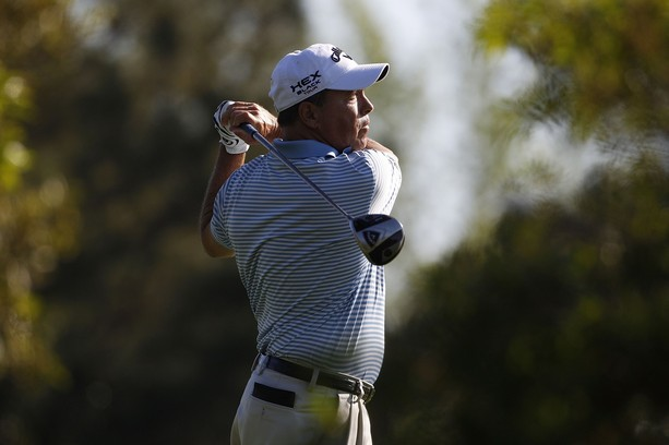 BILOXI, MS - MARCH 24:  Olin Browne hits a drive during the continuation of the first round of the Mississippi Gulf Resort Classic held at Fallen Oak Golf Club on March 24, 2012 in Biloxi, Mississippi.