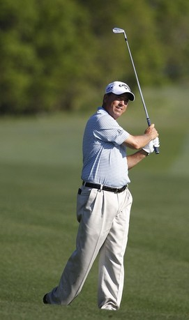 BILOXI, MS - MARCH 24: Olin Browne hits a shot from the fairway during the continuation of the first round of the Mississippi Gulf Resort Classic held at Fallen Oak Golf Club on March 24, 2012 in Biloxi, Mississippi.