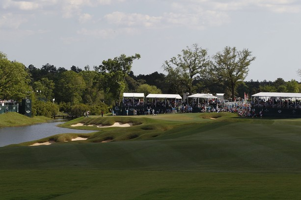 BILOXI, MS - MARCH 25: A general view of the 18th hole during the final round of the Mississippi Gulf Resort Classic held at Fallen Oak Golf Club on March 25, 2012 in Biloxi, Mississippi.