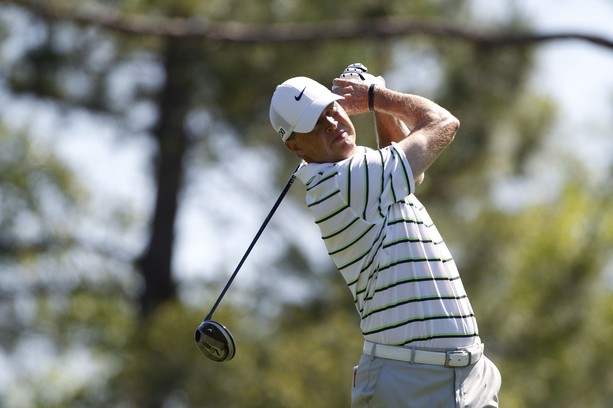 BILOXI, MS - MARCH 25:  Bob Tway hits his drive on the second hole during the final round of the Mississippi Gulf Resort Classic held at Fallen Oak Golf Club on March 25, 2012 in Biloxi, Mississippi.