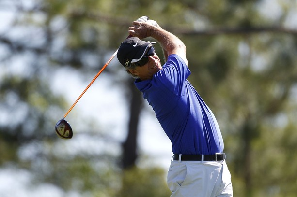 BILOXI, MS - MARCH 25:  Bobby Clampett hits his drive on the second hole during the final round of the Mississippi Gulf Resort Classic held at Fallen Oak Golf Club on March 25, 2012 in Biloxi, Mississippi.