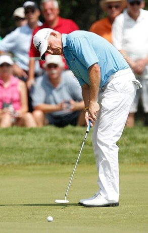 LAKE ORION, MI - JULY 15: Roger Chapman of England putts for birdie on the eighth green during the final round of the 2012 Senior United States Open at Indianwood Golf and Country Club on July 15, 2012 in Lake Orion, Michigan.
