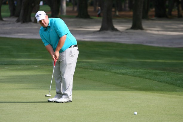 HILTON HEAD ISLAND, SC - APRIL 13: Colt Knost putts for birdie on the 11th hole during the second round of the RBC Heritage presented by Boeing at Harbour Town Golf Links on April 13, 2012 in Hilton Head Island, South Carolina.