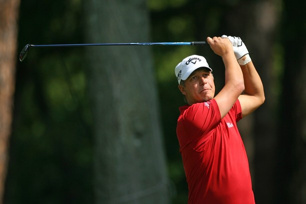 HILTON HEAD ISLAND, SC - APRIL 13: Fredrik Jacobson of Sweden  hits his tee shot on the 11th hole during the second round of the RBC Heritage presented by Boeing at Harbour Town Golf Links on April 13, 2012 in Hilton Head Island, South Carolina.