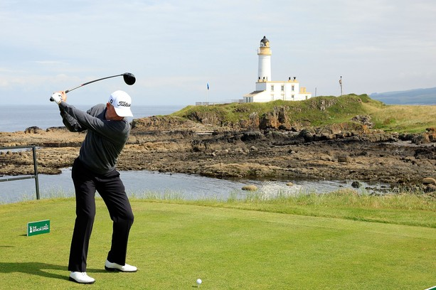 TURNBERRY, SCOTLAND - JULY 26:  Roger Chapman of England in action on the 9th tee during the first round of the Senior Open Championship played over the Ailsa Course, Turnberry on July 26, 2012 in Turnberry, United Kingdom.