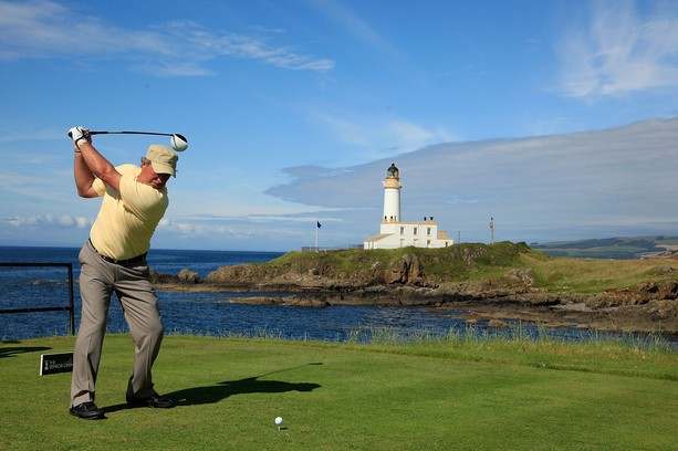 TURNBERRY, SCOTLAND - JULY 26:  Barry Lane of England in action during the first round of the Senior Open Championship played over the Ailsa Course, Turnberry on July 26, 2012 in Turnberry, United Kingdom.