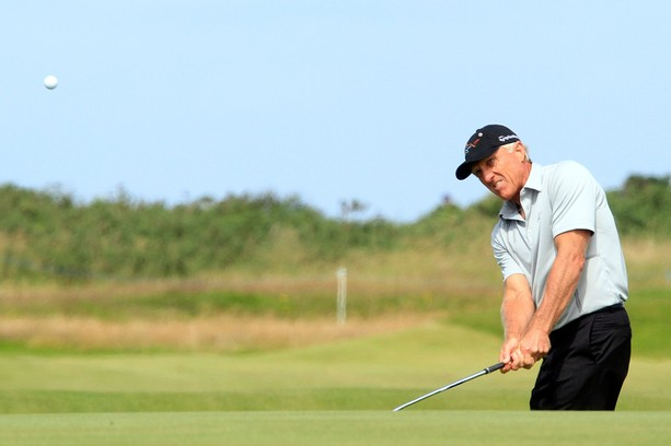 TURNBERRY, SCOTLAND - JULY 26:  Greg Norman of Australia in action during the first round of the Senior Open Championship played over the Ailsa Course, Turnberry on July 26, 2012 in Turnberry, United Kingdom.