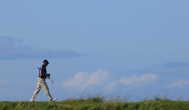 TURNBERRY, SCOTLAND - JULY 26:  Peter Fowler of Australia in action during the first round of the Senior Open Championship played over the Ailsa Course, Turnberry on July 26, 2012 in Turnberry, United Kingdom.