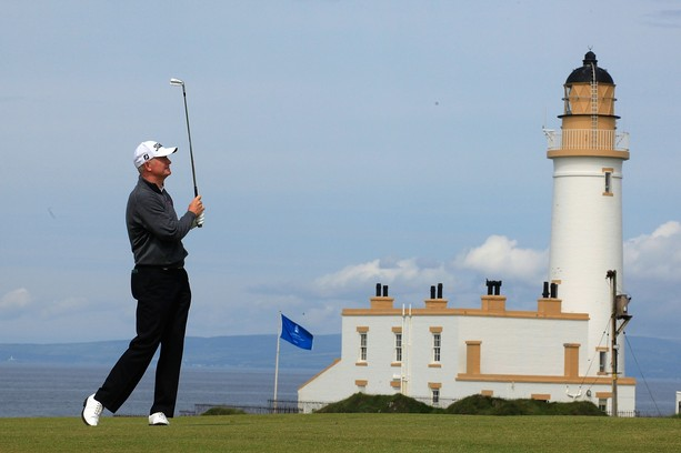 TURNBERRY, SCOTLAND - JULY 26:  Roger Chapman of England in action during the first round of the Senior Open Championship played over the Ailsa Course, Turnberry on July 26, 2012 in Turnberry, United Kingdom.