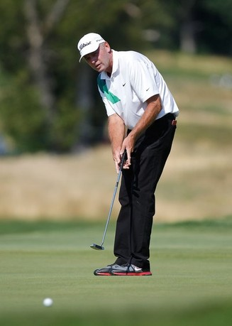 LAKE ORION, MI - JULY 13: Lance Ten Broeck watches his birdie attempt on the seventh hole during the second round of the 2012 Senior United States Open at Indianwood Golf and Country Club on July 13, 2012 in Lake Orion, Michigan.