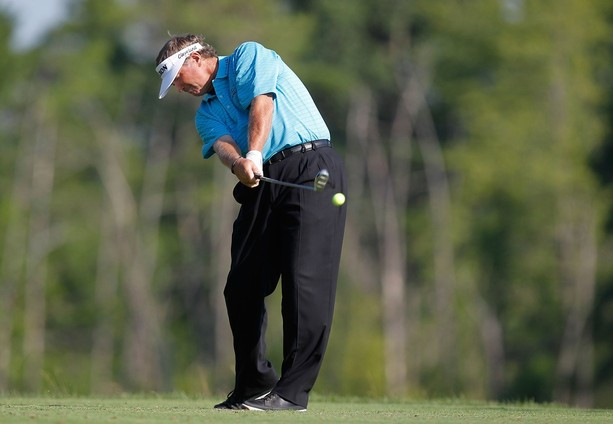 LAKE ORION, MI - JULY 13: Peter Jacobsen hits his drive on the ninth hole during the second round of the 2012 Senior United States Open at Indianwood Golf and Country Club on July 13, 2012 in Lake Orion, Michigan.