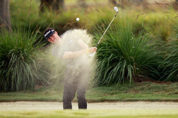 AVONDALE, LA - APRIL 27:  Keegan Bradley hits out of the sand on the 11th hole during the second round of the Zurich Classic at TPC Louisiana on April 27, 2012 in Avondale, Louisiana.