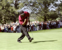 Tiger Woods sunk an eagle putt on the final hole to beat Billy Ray Brown by two strokes for his first win at Torrey Pines. (Jon Ferry/PGA TOUR)