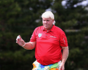 HONOLULU, HI - JANUARY 12:  John Daly reacts to fans after a par putt on the 15th hole green during the thrid round of the Sony Open in Hawaii at Waialae Country Club on January 12, 2013 in Honolulu, Hawaii.  (Photo by Christian Petersen/Getty Images)