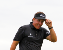 SCOTTSDALE, AZ - FEBRUARY 3: Phil Mickelson acknowledges the crowd on the 18th green after winning the Waste Management Phoenix Open at TPC Scottsdale on February 3, 2013 in Scottsdale, Arizona. (Photo by Hunter Martin/Getty Images)