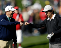 PEBBLE BEACH, CA - FEBRUARY 09:  Actor Ray Romano (L) and singer Huey Lewis clown around on the ninth tee during the third round of the AT&T Pebble Beach National Pro-Am at Pebble Beach Golf Links on February 9, 2013 in Pebble Beach, California.  (Photo by Ezra Shaw/Getty Images)