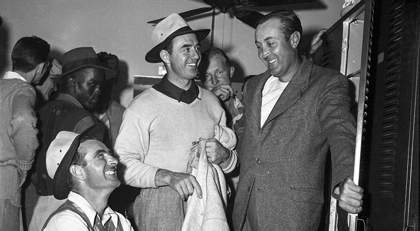 GHM Archives  Martin's Studio Golf  Left to right: Lloyd Mangrum (1948 champion), Sam Snead (1946 champion), and Vic Ghezzi (1947 champion).