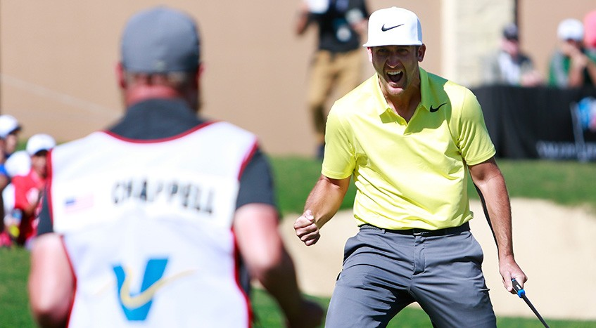 Kevin Chappell is mildly excited by his win at the Valero